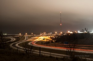 This late night view of Highway 163 on the west side of Oskaloosa.