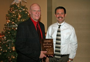 Pediatrician Dr. John O'Brien, left, was named the 2012 MHP MVP (Most Valuable Provider) at the health system's annual Provider Appreciation Dinner, held Dec. 13 at The Peppertree. He was presented his award by Jay Christensen, MHP CEO. (submitted photo)