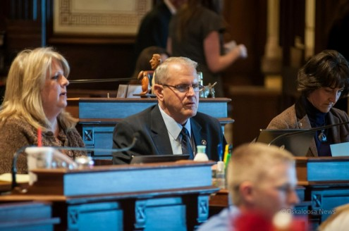 Ken Rozenboom (R) at his desk in the Iowa Senate Chambers.