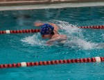 A participant at the Mahaska County YMCA Dolphins Swim Team event recent held in Oskaloosa.