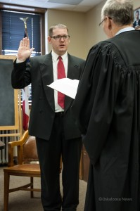 Mark Doland is sworn in as Mahaska Counties newest supervisor on Monday