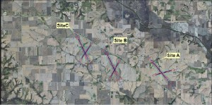The locations of the three potential locations of the proposed regional airport. (submitted image)