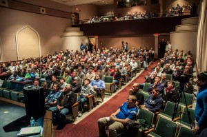A near capacity crowd filled the The Joan Kuyper Farver Auditorium on Thursday evening for the regional airport informational meeting.