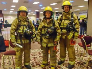 These three reserve members of the Oskaloosa Fire Department took part in the  'Fight For Air Climb' on Sunday (submitted photo)