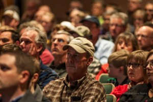 Area residents listen to a presentation by SCRAA representatives Mike Nardini and Mike Schrock