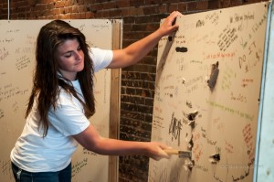 Katie Rielly helps #BreakTheWall on Wednesday