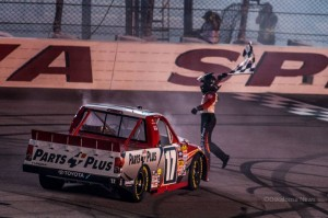 Timothy Peters celebrates his victory at the Iowa Speedway on Saturday night (photo by Ken Allsup/Oskaloosa News)