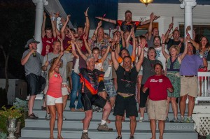 Team Gourmet celebrates during their overnight stay in Oskaloosa. (photo by Ginger Allsup)