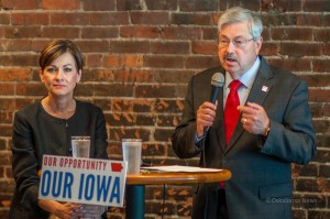 Lt. Governor Kim Reynolds (left) and Governor Terry Branstad (right) answer questions from area residents on Friday afternoon.