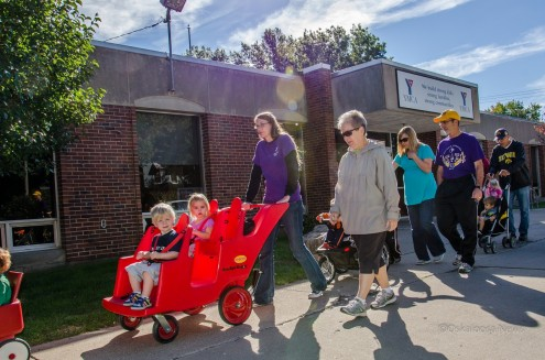 Children and childcare providers and YMCA members take off on the Healthiest State Walk