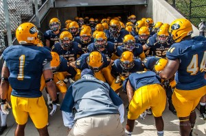The William Penn Statesmen Football team prepares to take the field against St. Ambrose on Saturday.