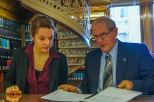 Jackie Reif (left) a sophomore at Oskaloosa High School spent Tuesday job shadowing Iowa State Senator Ken Rozenboom (right). She was able to sit next to the Senator during Governor Branstads Condition of the State Address.