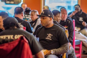 The Iowa Barnstormers enjoy a meal at Mi Ranchito Sunday evening before their first official meet and greet of the 2014 season.