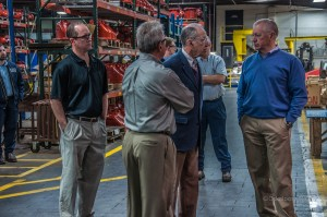 Senator Chuck Grassley (R) visits with Clow management and employees last week.