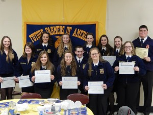 Scholarship Recipients. Back row left to right. Kaila Wheeldon, Brittany McQueen, Kylee Silliman, Alissa Newendorp, Bobbi Fogle, and Joe Ver Steegh. Front row left to right. Mackenzie Miller, Linay Seibert, Kayla Wald, Kelsie Tomlin, Josh Van Donslaar, Elizabeth Christy and Madison McQueen.