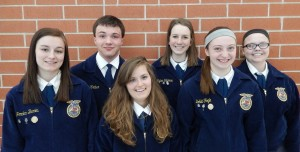2014 - 2015 Officer Team. Back row left to right, Dalton Kraber, Kylee Silliman and Madison McQueen. Front Row left to right, Jordan Bemis, Kayla Wald and Bobbi Fogle.