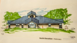 A conceptual drawing of the proposed Environmental Learning Center planned for Caldwell Park.