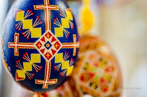 These are just a few of the 40 hand decorated Easter Eggs from Ukraine on display at Grace Evangelical Church in Oskaloosa