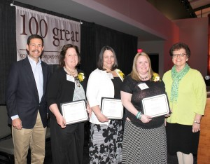Shown at the 100 Great Iowa Nurses Ceremony on May 4 at the Iowa Convention Center in Des Moines are, from left: MHP Chief Executive Officer Jay Christensen, Kerrilyn Nunnikhoven, Andrea Hagist, Michele Manternach and Chief Nursing Officer Darlene Keuning. (submitted photo)
