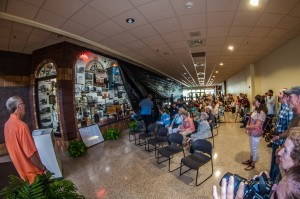 Nearly 100 people came out Saturday morning to witness the unveiling of the Oskaloosa Historical Montage at Penn Central Mall.