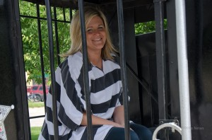 "A volunteer that was locked up for charity on Friday at the Shriners ""Jail and Bail"""