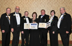 From left, Past International Directors of Lions Clubs International Gary Fry of Mitchellville, Norman Dean of Davenport and Delmar Brown of Iowa City; award recipients Leslie Nuehring of Oskaloosa and Roger Bublitz of Waukon; current International Directors Judy Hankom of Hampton, Iowa, and Stephen Glass of Bridgeport, West Virginia. (submitted photo)