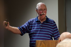 Iowa Coal Mine Historian Doug Wilson gave a lecture on the history of Muchakinock this past week at the Oskaloosa Public Library. (photo by Ginger Allsup)