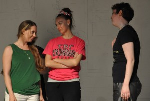 Rachel Singley, Morgan Reddy, and Mary Schnoebelen rehearse Box Supper Night (submitted photo)
