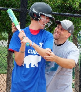 Ryan Harkema shares a laugh with a Challenger League participant. (submitted photo)