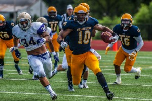 William Penn University Football Freddy Griggs takes off upfield against the Bethel Wildcats on Saturday