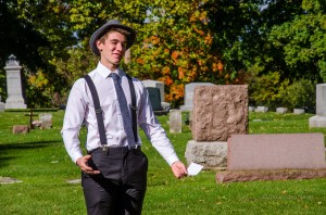 Jeremy Hartl portrayed passed Oskaloosa resident Marquis Barr during the annual Teen Advisory Board Cemetery Walk.