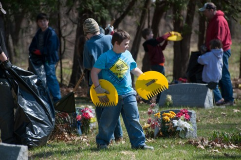 Two Boy Scout Troops were in University Park helping to clean up the community cemetery this Saturday.