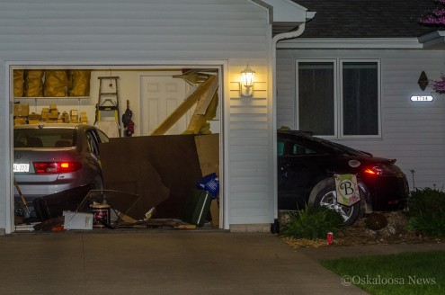 This car struck the home at 1714 South 2nd Street in Oskaloosa on Sunday night.
