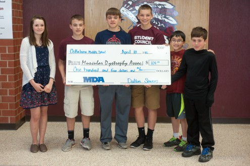 OMS Student Council members helped to raise $104 for MDA