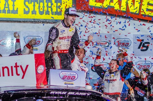 Ryan Blaney celebrates in victory lane at Iowa Speedway after leading for 252 laps. (photo by Ken Allsup/Oskaloosa News)