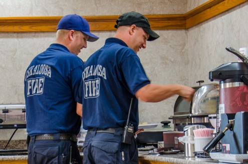 Oskaloosa firefighters enjoy a free complimentary breakfast at Oskaloosa Comfort Inn as a sign of appreciation for their service.