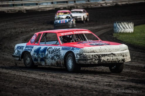 11 Mike Hughes was the feature winner in IMCA Stock Cars on Wednesday night.
