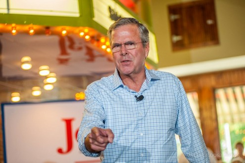 Republican Presidential Candidate Jeb Bush spoke before a full house at Smokey Row Coffee in Oskaloosa on Wednesday.