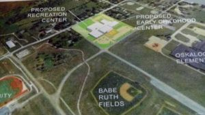 A proposed early childhood development and recreation center would be located near the Lacey Complex and Oskaloosa Elementary School.