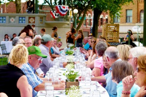 The farm to table dinner drew over 70 individuals out for dinner on the square. (photo provided)