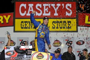 Todd Gilliland celebrating in Casey's General Stores Victory Lane. (photo courtesy: Jennifer Coleman Photography) ©2016, Jennifer Coleman Jennifer Coleman Photography