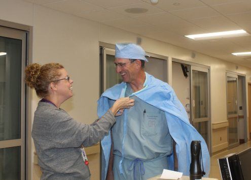 "MHP General Surgeon Dr. Timothy Breon was given a special ""MHP superhero cape"" by Clinical Quality Director Gloria Reed on Friday as she told him he was named a 2016 Iowa Hospital Hero by the Iowa Hospital Association."