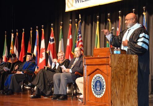 Dr. Irving C. Jones delivered the Convocation Address on September 15 in the George Daily Auditorium.