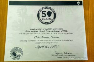 National Historic Preservation Act certificate - Oskaloosa, Iowa