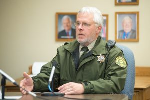 Mahaska County Sheriff Russ VanRenterghem discusses his plan to use reserve deputies to the Mahaska County Board of Supervisors.