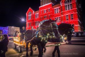 The clomping of hooves could be heard as this team worked to provide rides on the square in Oskaloosa Saturday evening.