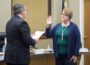 Diane Ottosson is sworn in on Tuesday to the Oskaloosa City Council by Mayor Dave Krutzfeldt