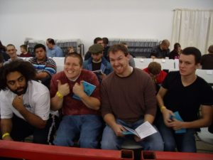 Tony Storm as a CEW fan back in 2010. Storm is seen doing a thumbs up just before a match starts.