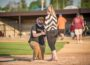 Chris Valster asks his girlfriend Shyann Fleener to marry him in between games at the Babe Ruth field on Thursday night.