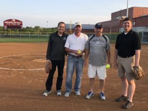 New Oskaloosa Softball First Pitch - Monday, May 21, 2018: (left to right) Ryan Parker, Rich Pierson, Jay Hars, and Russ Reiter.
